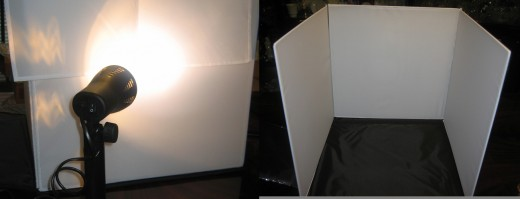 Photo booth - light outside, diffuse through the side cloth; and a center section for the subject.