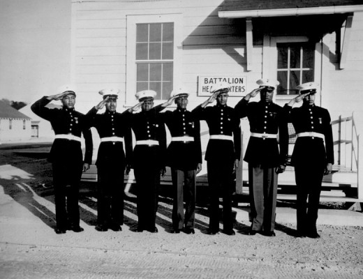 Black US Marine Corps troops show their dress uniforms at Point Montford, North Carolina, about May 1943. The dress uniforms, not part of standard government issue, cost each man $54 from his pay.