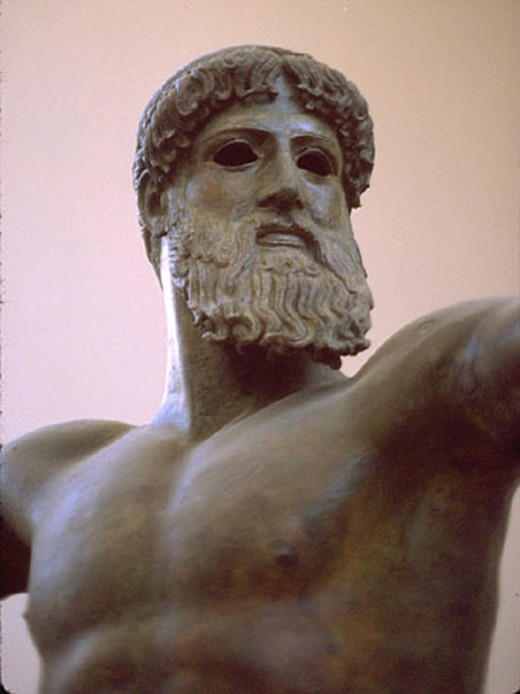 A bronze statue of Zeus, the most powerful God in the extinct religion of Ancient Greece.