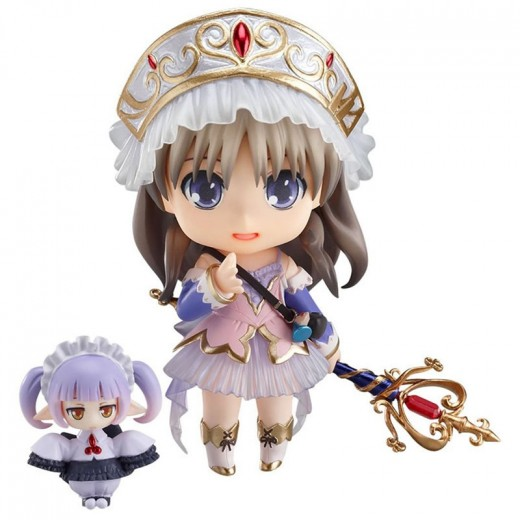 A Nendoroid of Totori from the Atelier Totori video game. Her accessories include her tiara, her wand and a Nendoroid Petite Plus called Chim.