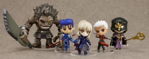 A set of five Nendoroid Petite figures from the Fate/Stay Night video game.