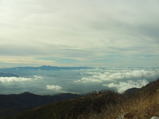 The clouds and the vista as seen from Highway 18 in the San Bernardino Mountains.
