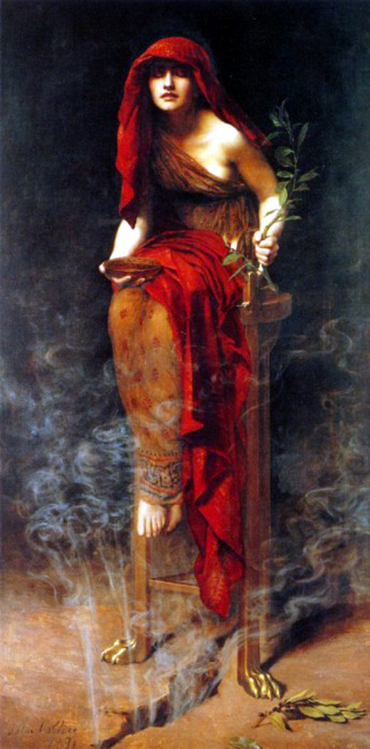Priestess of Delphi. This painting by John Meier Collier (1850-1934) was painted in 1891. It is in the Public Domain in the United States because it was first exhibited prior to 1923.