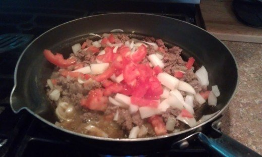 Sauteing all of the ingredients