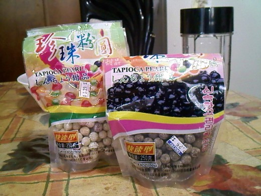 Both rainbow colored and black pearls tapioca. I got both from a Vietnamese store.