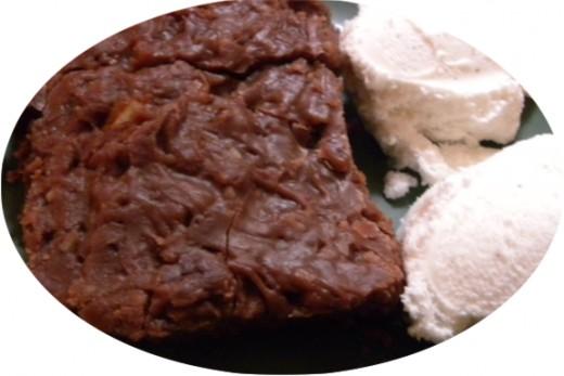 Buttermilk Brownies and Breyers Natural Vanilla Ice Cream.  YUM!