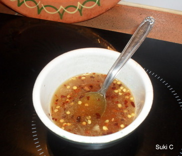 The chilli dressing - here I've used dried, crushed chillies