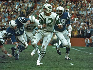 'Joe Namath scrambles in Superbowl III.'
