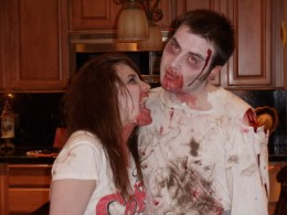 My sister and her boyfriend last Halloween dressed as zombies as they participate in the zombie craze.