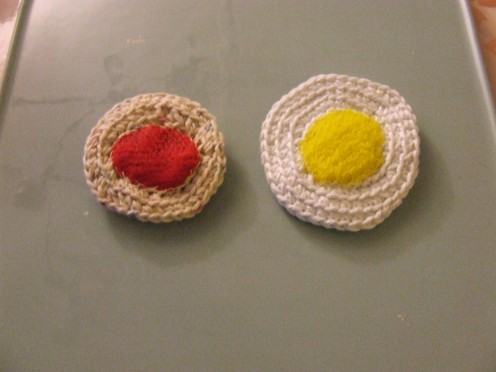 Rolled and sewn Fruit/Vegetable Bags stitched onto Cotton Disks.