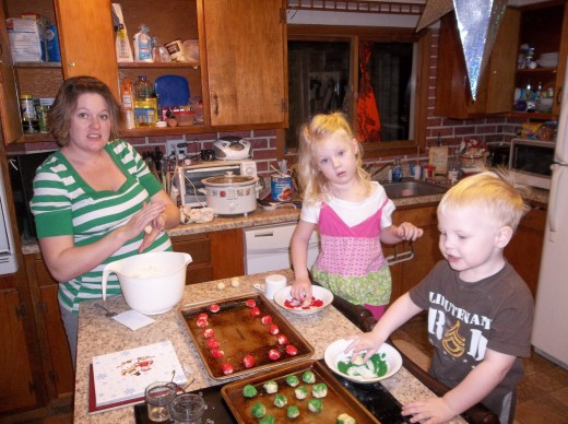 Baking Cookies with my 2 kids. (The day before I had my 3rd!)