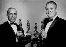 Robert Wise and Jerome Robbins with some of West Side Story's Oscars.