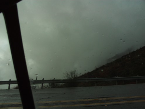 Another view of the rain and clouds driving up Highway 18.