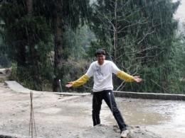 my son enjoing the rain at Manali-Himanchal Pradesh, India