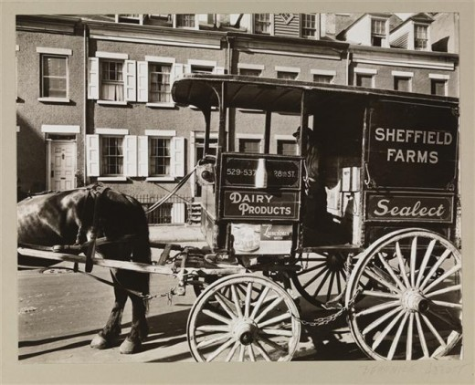 Title: Milkwagon and Old Houses Date: June 18, 1936 Comments: A Sheffield Farms milkwagon in front of 8-10 Grove Street.