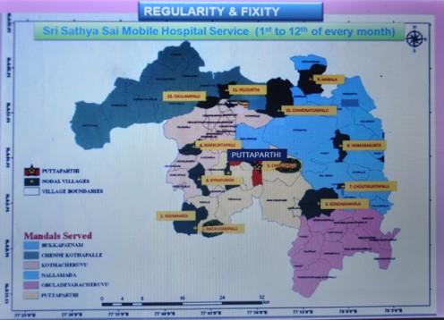 Todos los pueblos de las 6 mandals con Puttaparthi como el centro son atendidos por el Hospital Móvil.