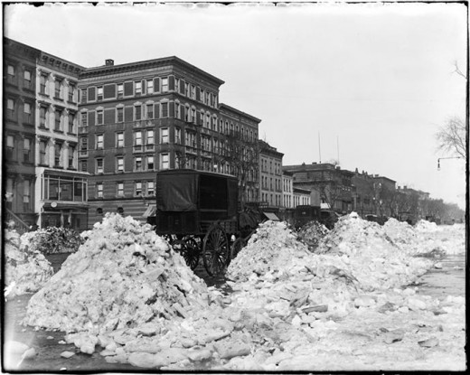 "Title: 125th Street and Lenox Avenue after 15"" snowfall Date: Between 1870 – 1910 Comments: There were no snowplows back then."