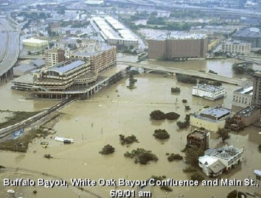 Flooding from Tropical Storm Allison in Houston Texas, June 2001 Buffalo Bayou, White Oak Bayou Confluence and Main St. - 06/09/01. NOAA Photo Library. [1] Publication of the National Oceanic & Atmospheric Adminstration (NOAA), U.S. Department of Com