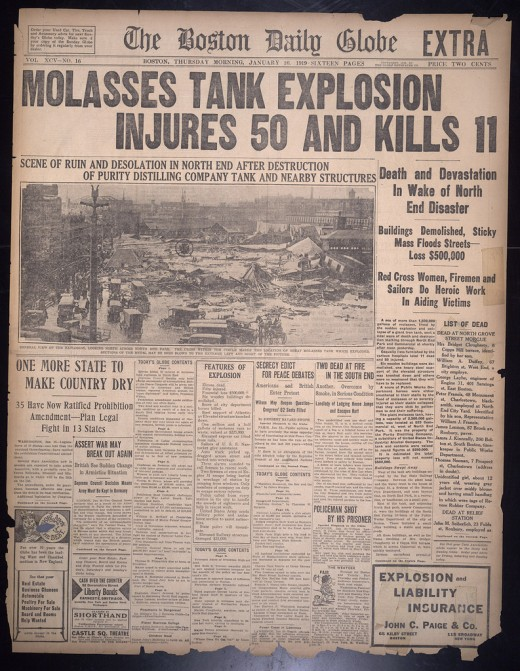 Headlines (with inaccurate casualty figures) of the Boston Molasses Flood