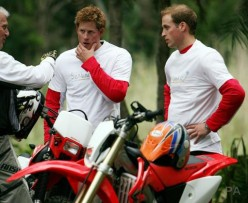 PRINCE(S) HARRY, LEFT, AND WILLIAM, RIGHT, TALK ABOUT A CHARITY BICYCLE RIDE.