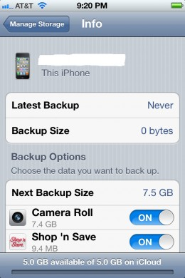 Turn on the backup functionality for any apps you want to back up.