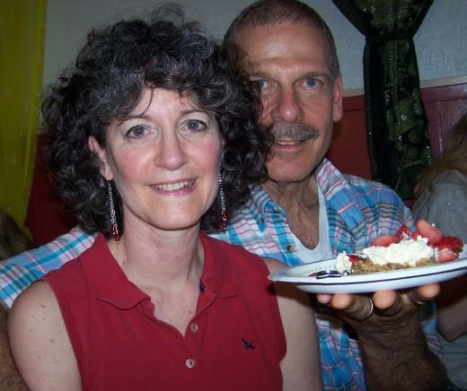 Leagh and Lohrainne enjoy Apple Blueberry Fruit Crisp at a birthday party.
