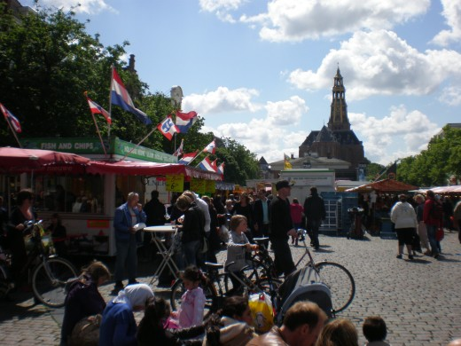 The Open Market with Aa church in the background