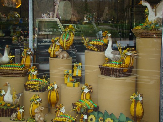 The Easter window display at Rococo Chocolates in Belgravia - everything in the window display is made from chocolate!