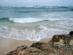 Laie Beach on a calm day. This is where I was caught by the riptide decades ago.