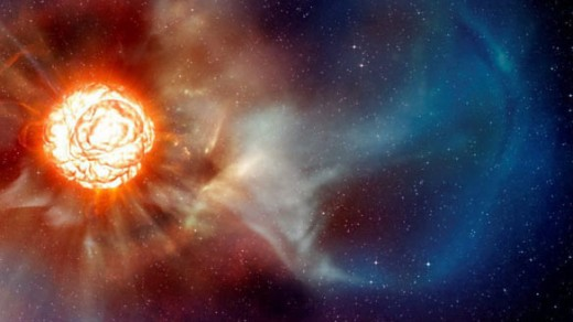 This artists depiction of the star Betelgeuse shows the large plume that has been photographed by powerful telescopes.