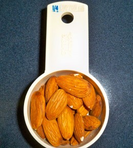 !/4 cup of nuts may surprise you when you pour them into your hand!