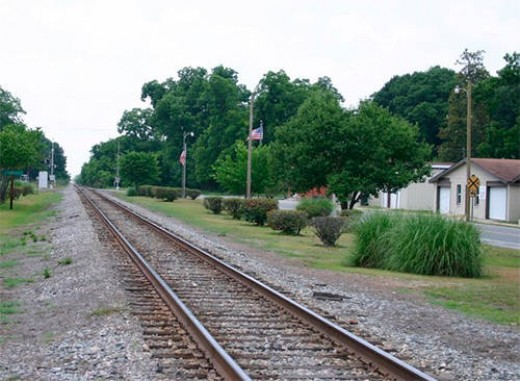 Railroad tracks in Surrency, GA.