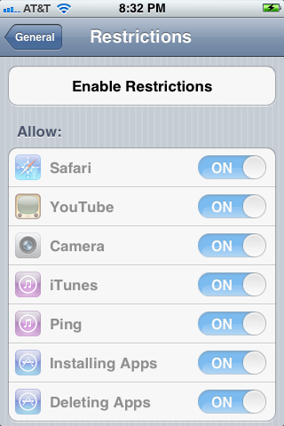"""Tap """"Enable Restrictions."""""""