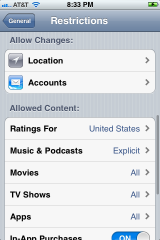 Change Location and Accounts permissions in the Allow Changes section.
