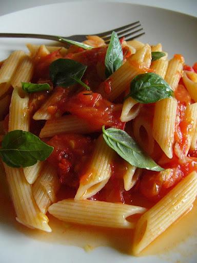 Indian style pasta with Italian basil tomato sauce recipe