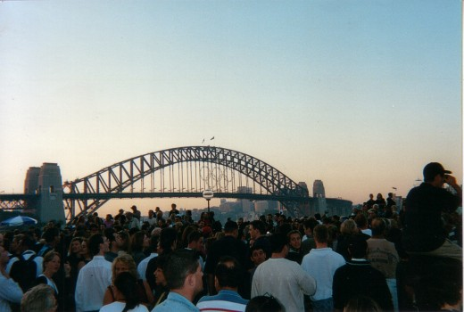 Circular quay facing Sydney Cove & Sydney Harbour Bridge during the 2000 Olympics