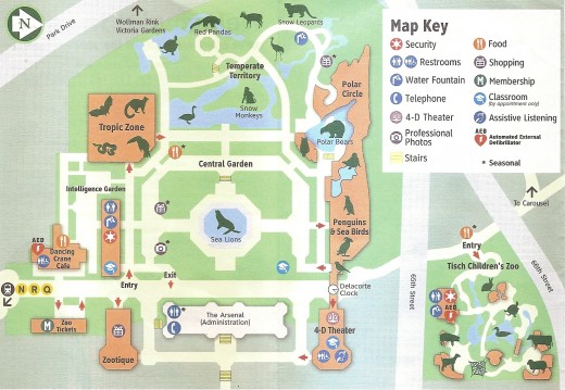 Central Park Zoo Map as given to each person entering the zoo.