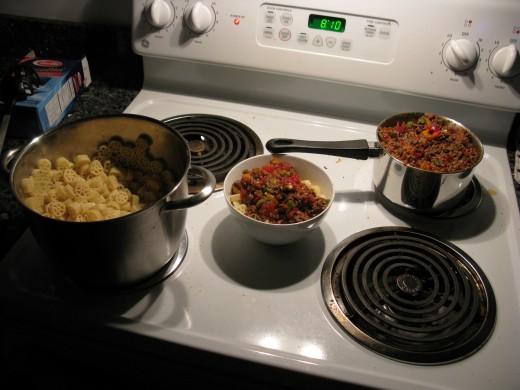 Italian tomato sauce on pasta with beef.