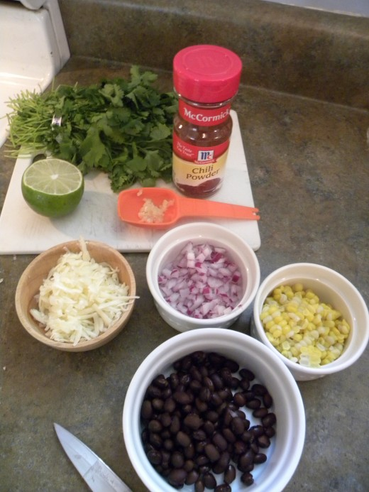 Ingredients for Black Bean and Roasted Corn Quesadillas
