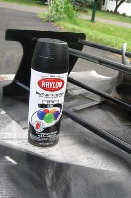 Spray painted black with Krylon spray paint.