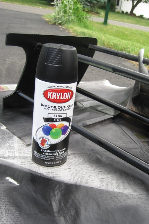 Spray painted black with Krylon spray paint.