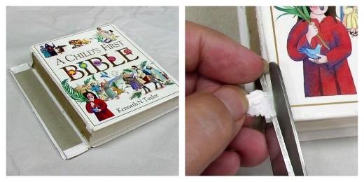 How I repaired a spine on a Child's Bible. First, Trim loose paper.