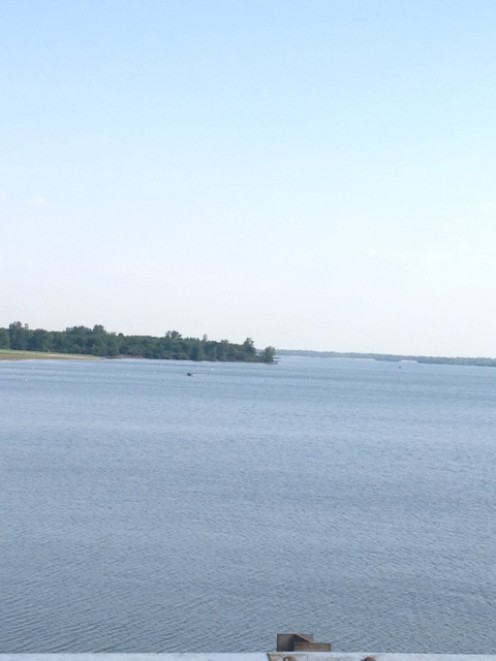 The view from atop Alum Creek Dam.