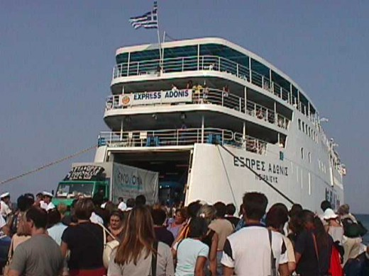 This is the ferry that took us from Rafina, Greece to the Cycladic island of Mýkonos.