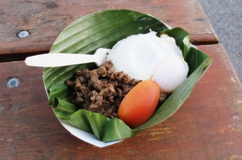 Tapsilog - Beef Tapa, Sinangag (Fried Rice), Itlog (Egg), and Kamatis (Tomato)