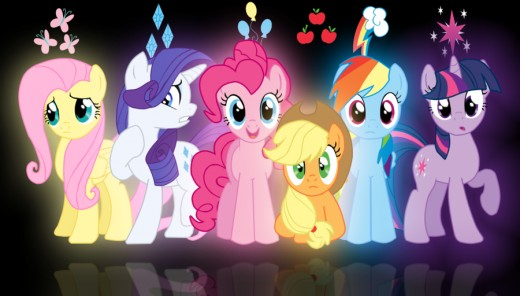 From L-R, Fluttershy, Rarity, Pinkie Pie, Applejack, Rainbow Dash, Twilight Sparkle