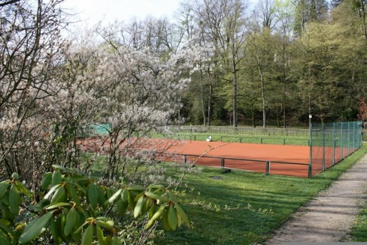 A tennis court in the Gardens!