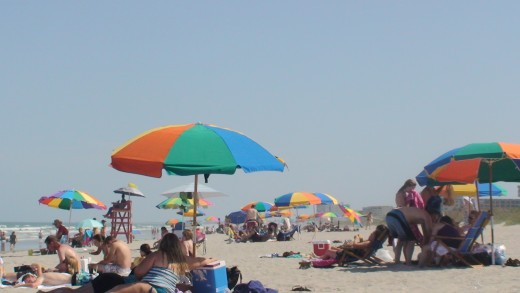Beach umbrellas everywhere!