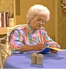Sophia Petrillo makes calculations for a doomed potato, lettuce and bacon sandwich business. She has poor business acumen.