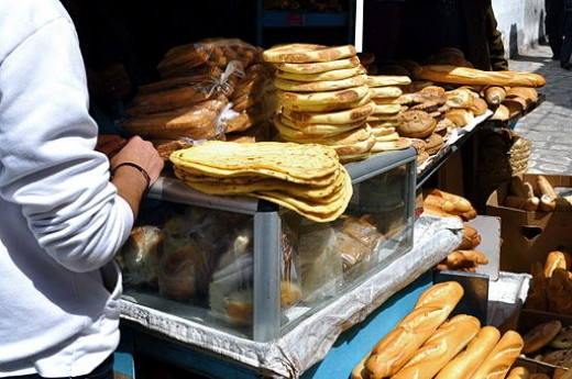 Breads on a cart in Tunisia